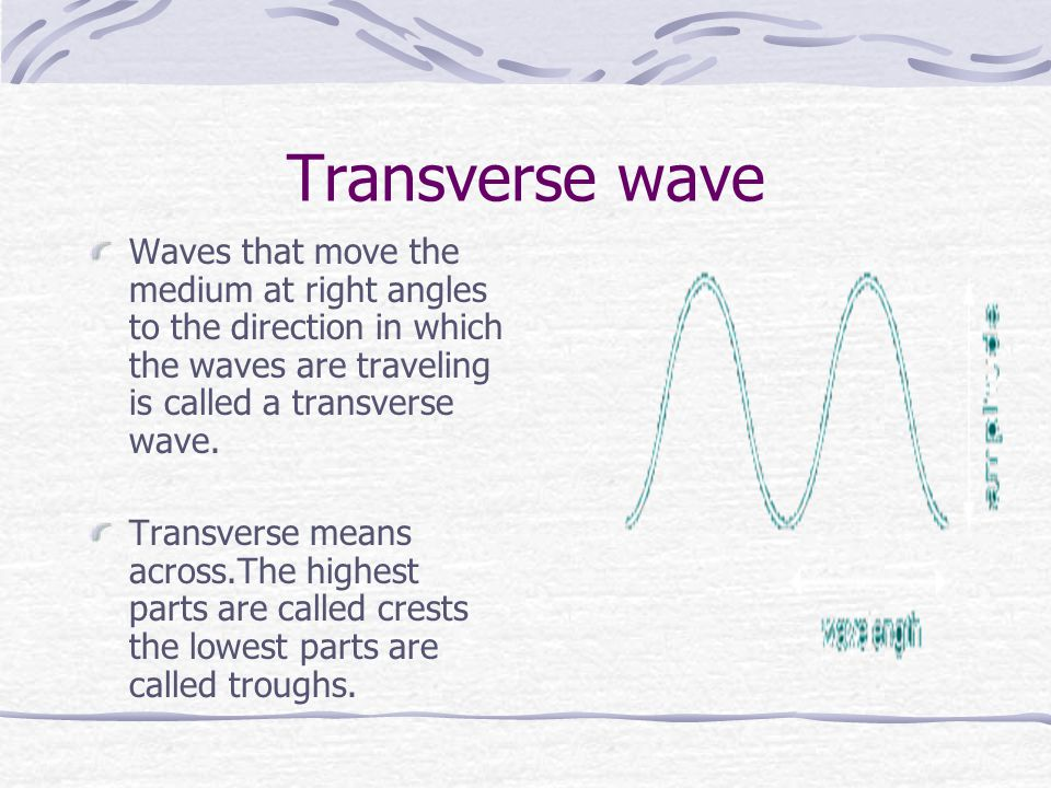 Transverse wave Waves that move the medium at right angles to the direction in which the waves are traveling is called a transverse wave.