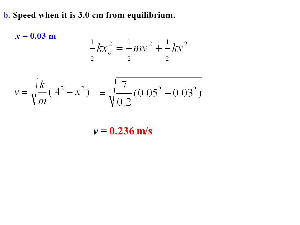 b. Speed when it is 3.0 cm from equilibrium.