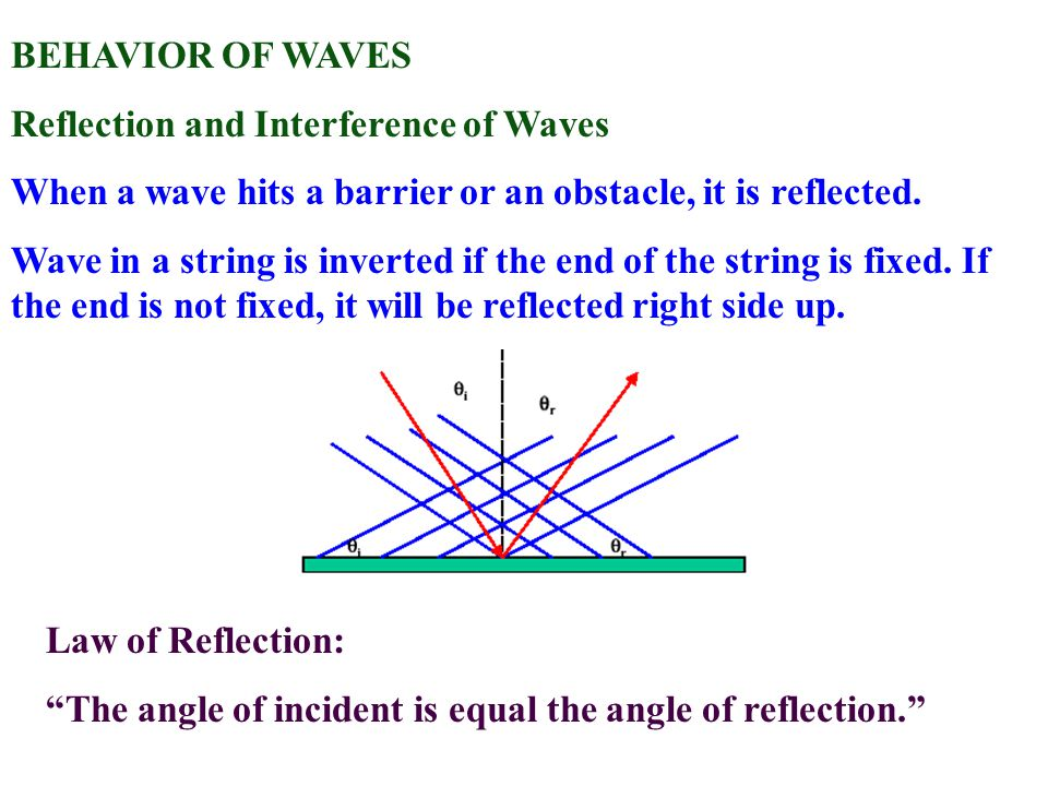 BEHAVIOR OF WAVES Reflection and Interference of Waves. When a wave hits a barrier or an obstacle, it is reflected.