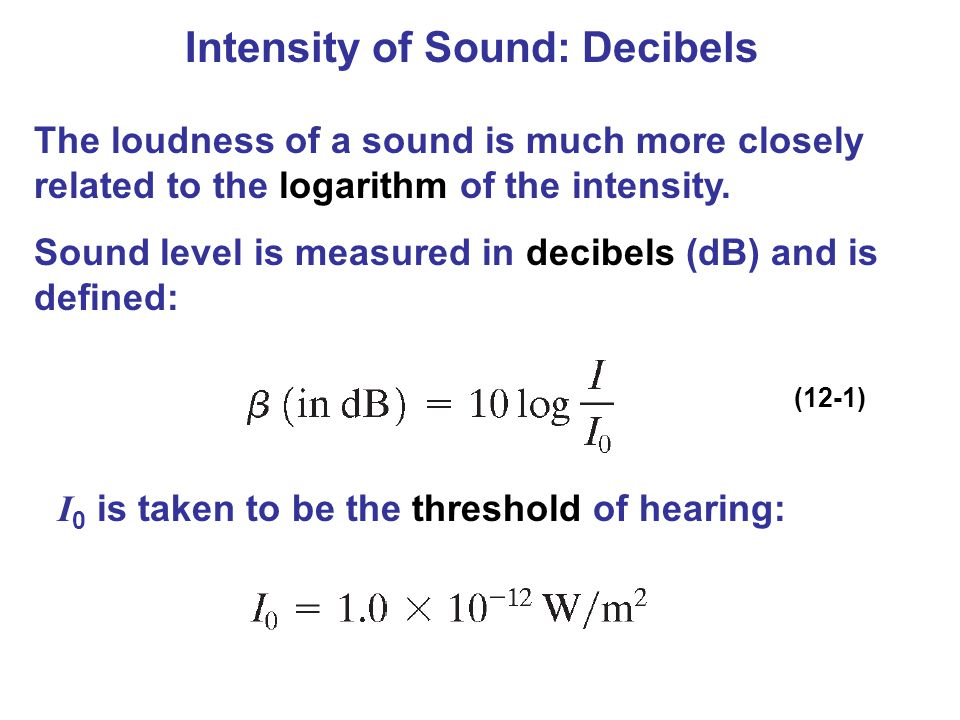 Intensity of Sound: Decibels