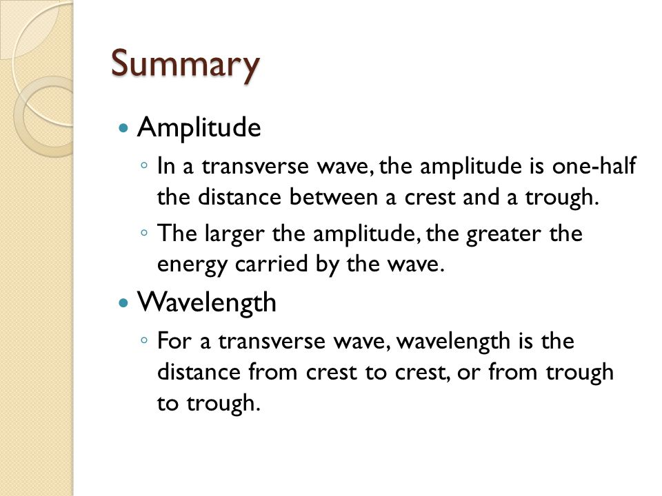 Summary Amplitude Wavelength