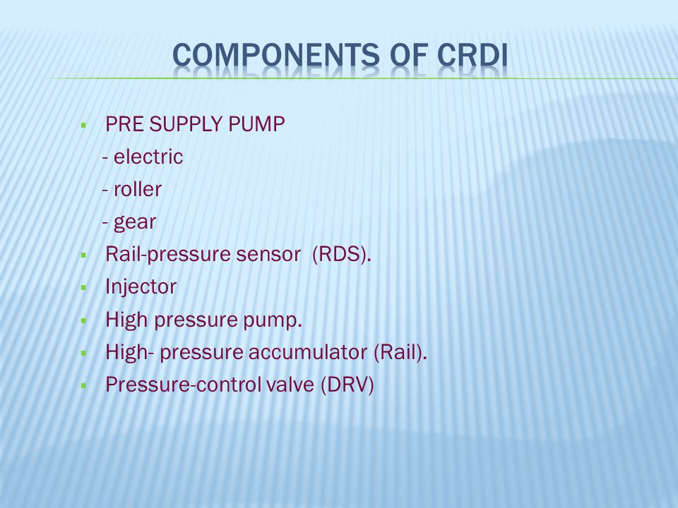 Components of CRDi PRE SUPPLY PUMP - electric - roller - gear