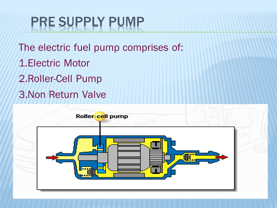 Pre Supply Pump The electric fuel pump comprises of: 1.Electric Motor