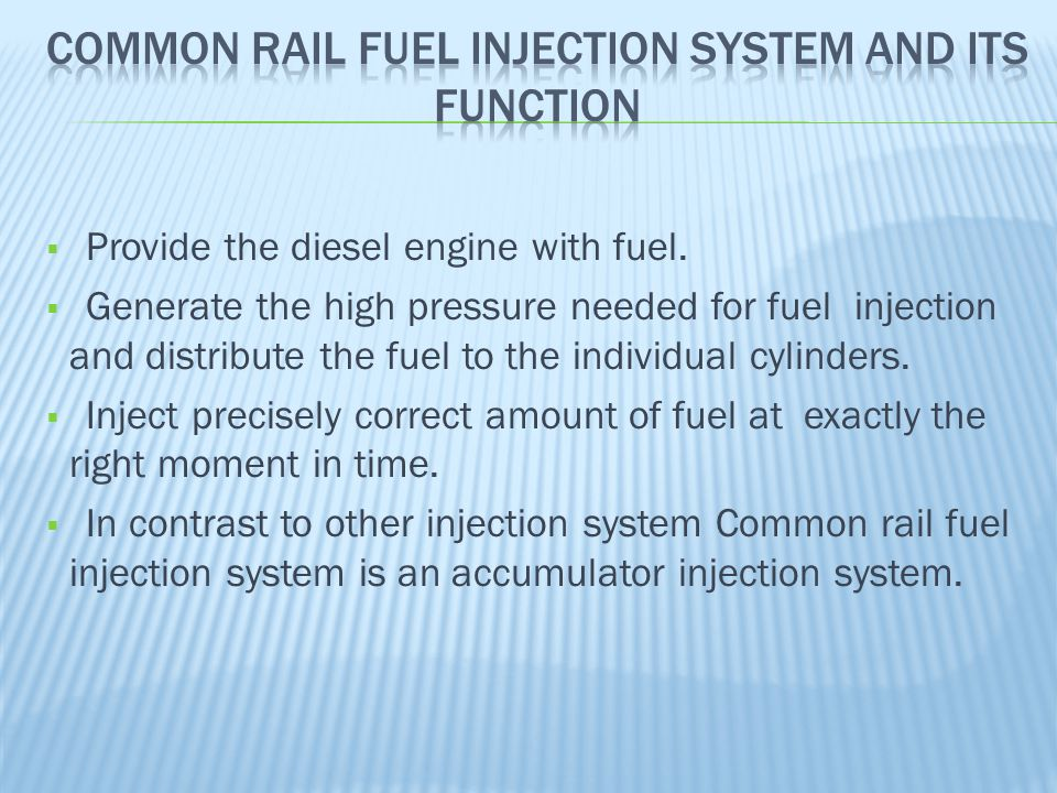 Common Rail Fuel Injection System And Its Function