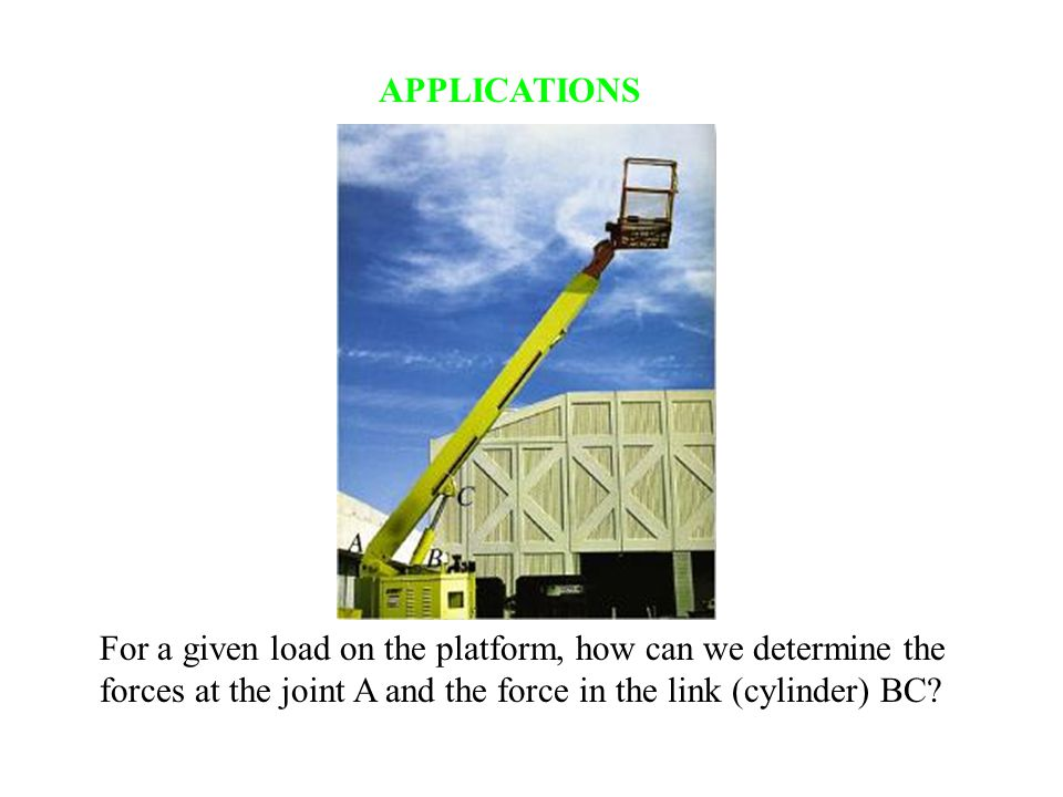 APPLICATIONS For a given load on the platform, how can we determine the forces at the joint A and the force in the link (cylinder) BC
