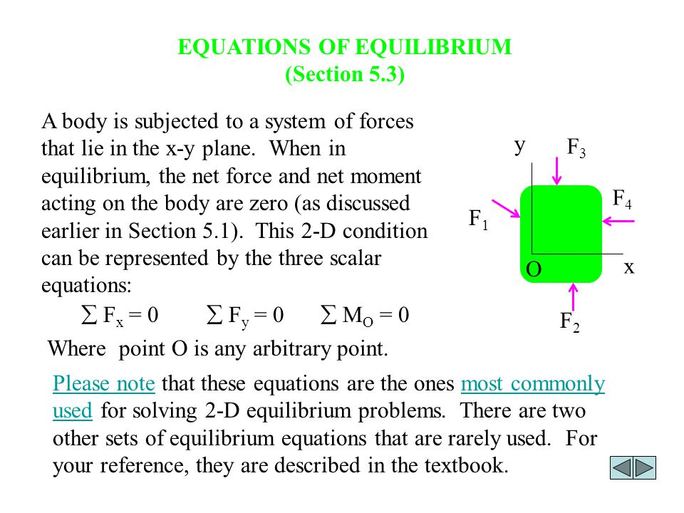 EQUATIONS OF EQUILIBRIUM (Section 5.3)