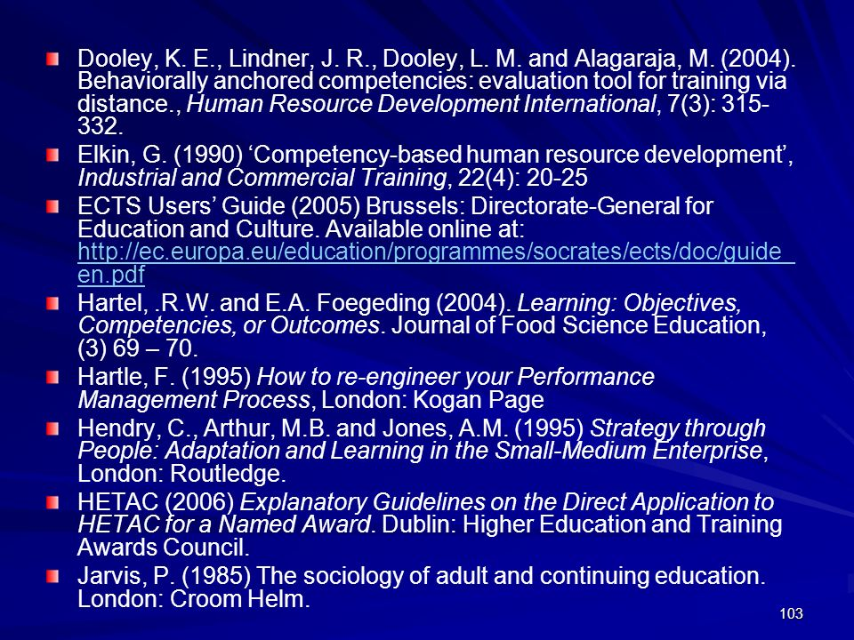 Dooley, K. E., Lindner, J. R., Dooley, L. M. and Alagaraja, M. (2004). Behaviorally anchored competencies: evaluation tool for training via distance., Human Resource Development International, 7(3):