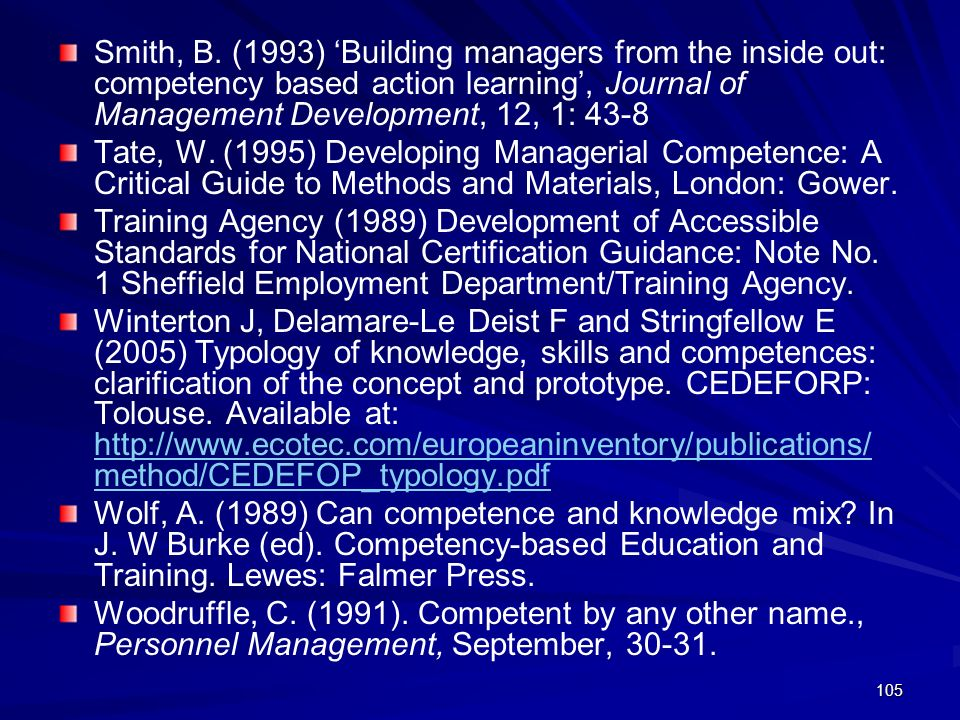 Smith, B. (1993) 'Building managers from the inside out: competency based action learning', Journal of Management Development, 12, 1: 43-8