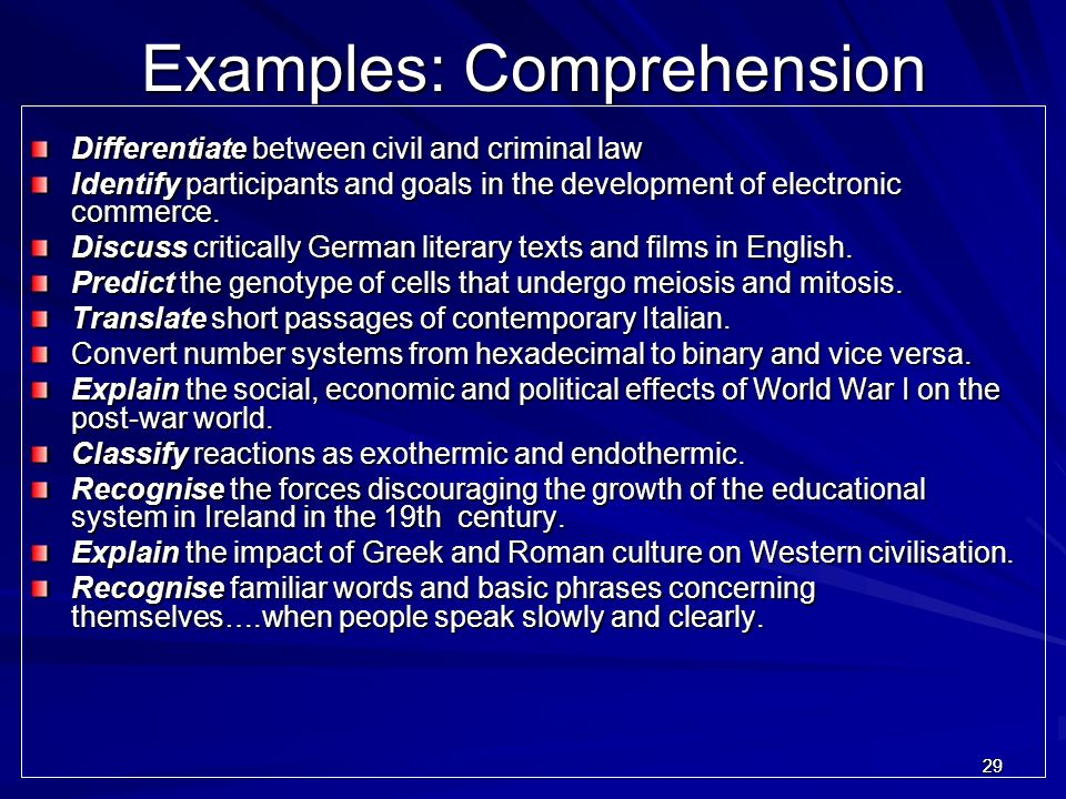 Examples: Comprehension