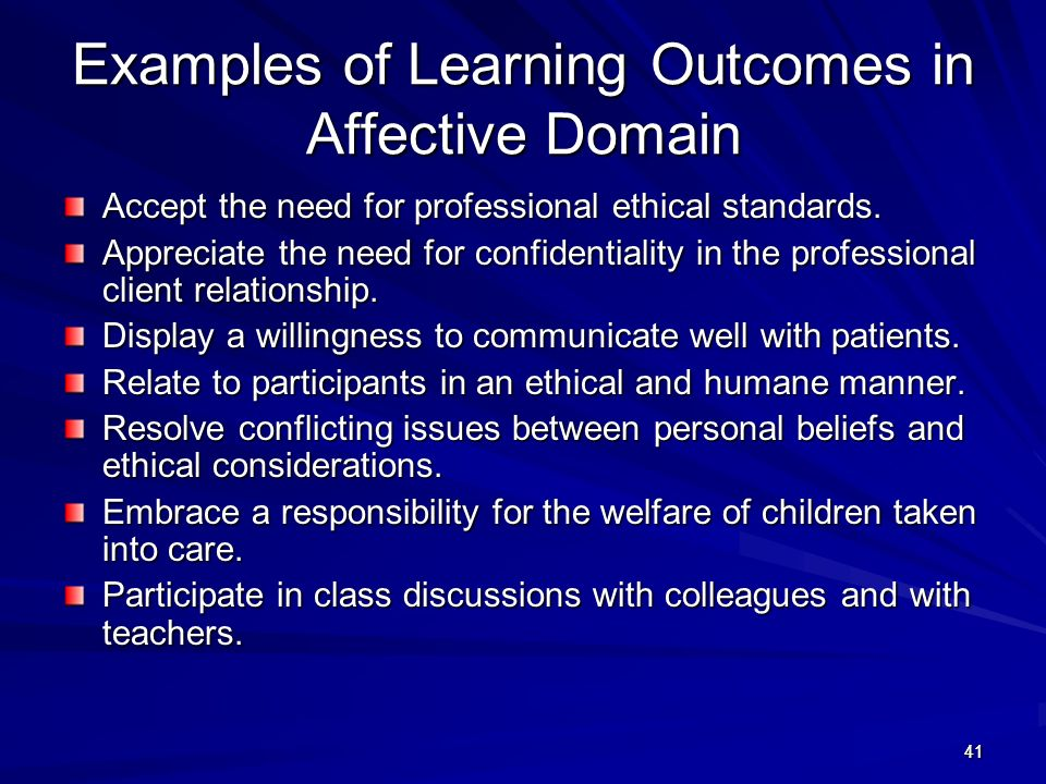 Examples of Learning Outcomes in Affective Domain