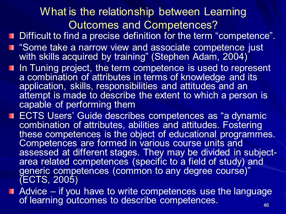 What is the relationship between Learning Outcomes and Competences