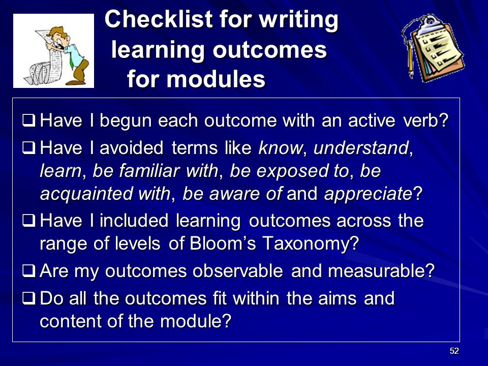 Checklist for writing learning outcomes for modules