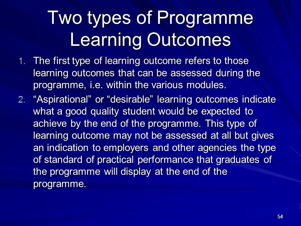 Two types of Programme Learning Outcomes
