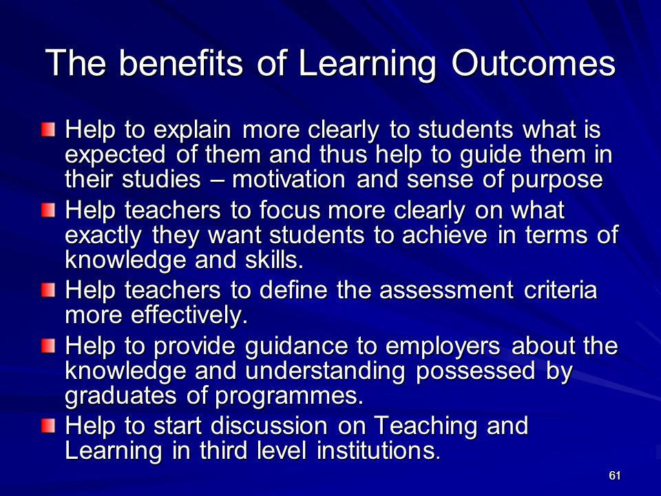 The benefits of Learning Outcomes