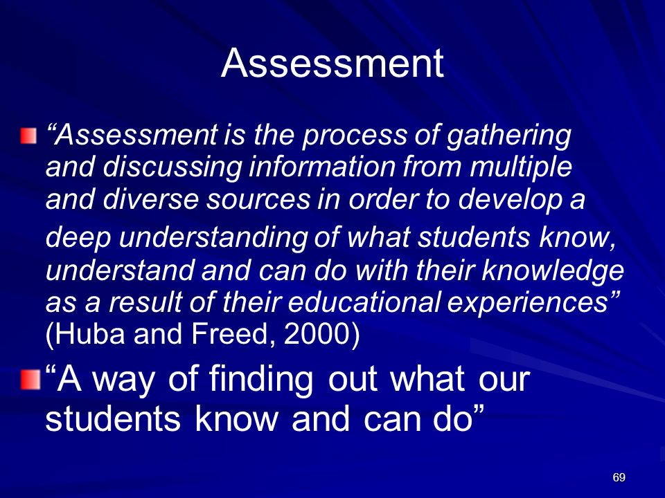 Assessment A way of finding out what our students know and can do
