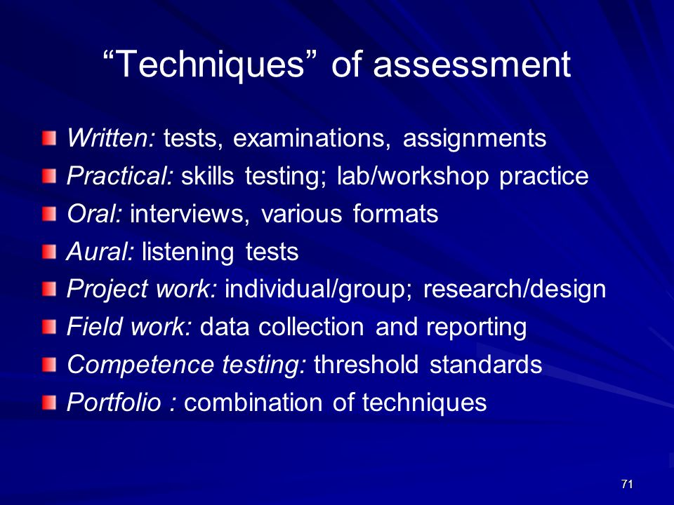 Techniques of assessment