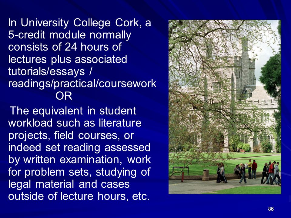 In University College Cork, a 5-credit module normally consists of 24 hours of lectures plus associated tutorials/essays / readings/practical/coursework OR
