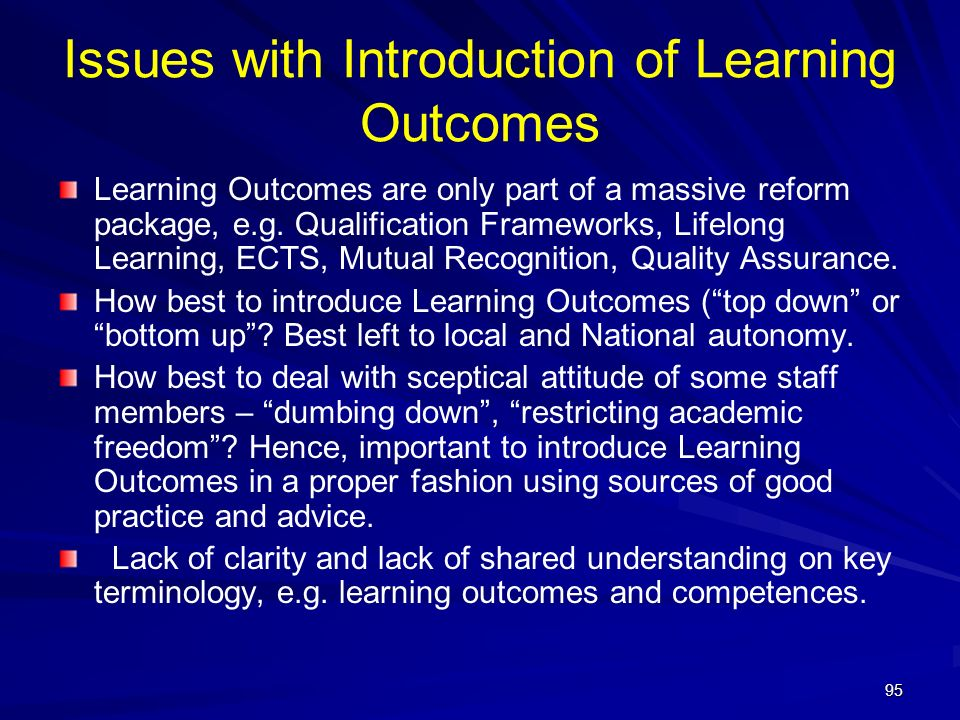Issues with Introduction of Learning Outcomes