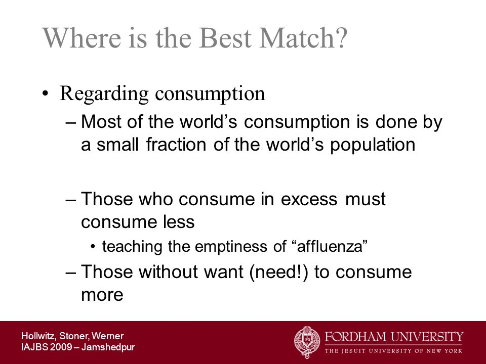 Where is the Best Match Regarding consumption