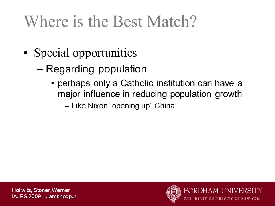 Where is the Best Match Special opportunities Regarding population