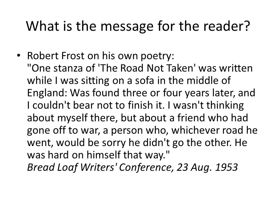 the road not taken stanza analysis