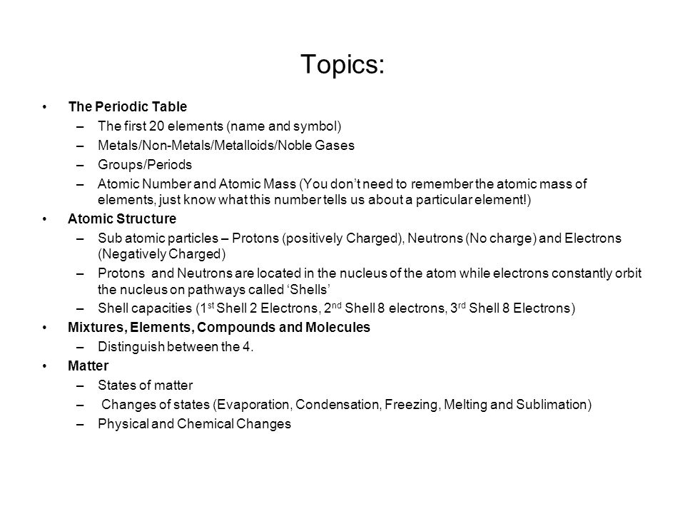 Topics: The Periodic Table The First 20 Elements (name And Symbol)