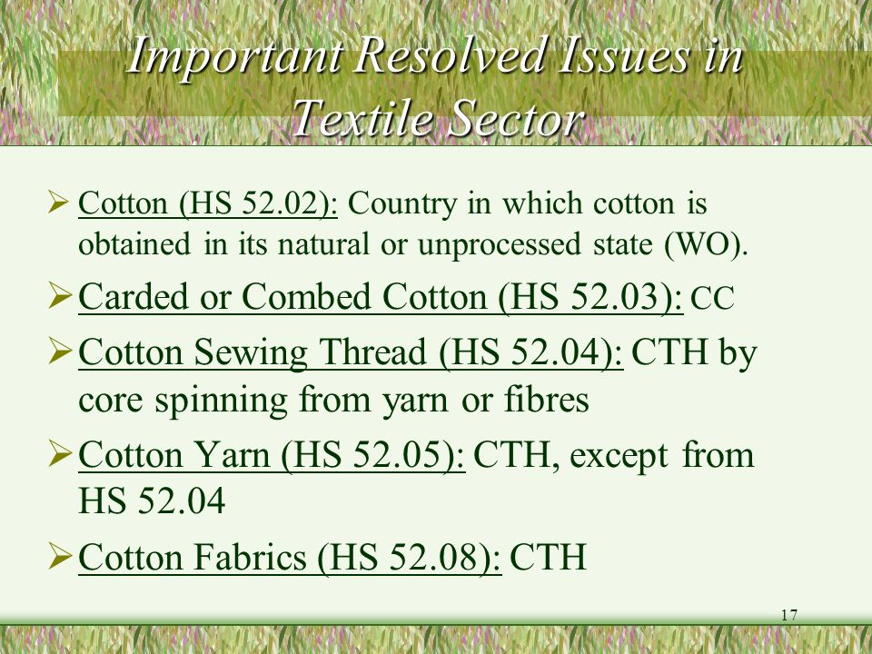 Important Resolved Issues in Textile Sector
