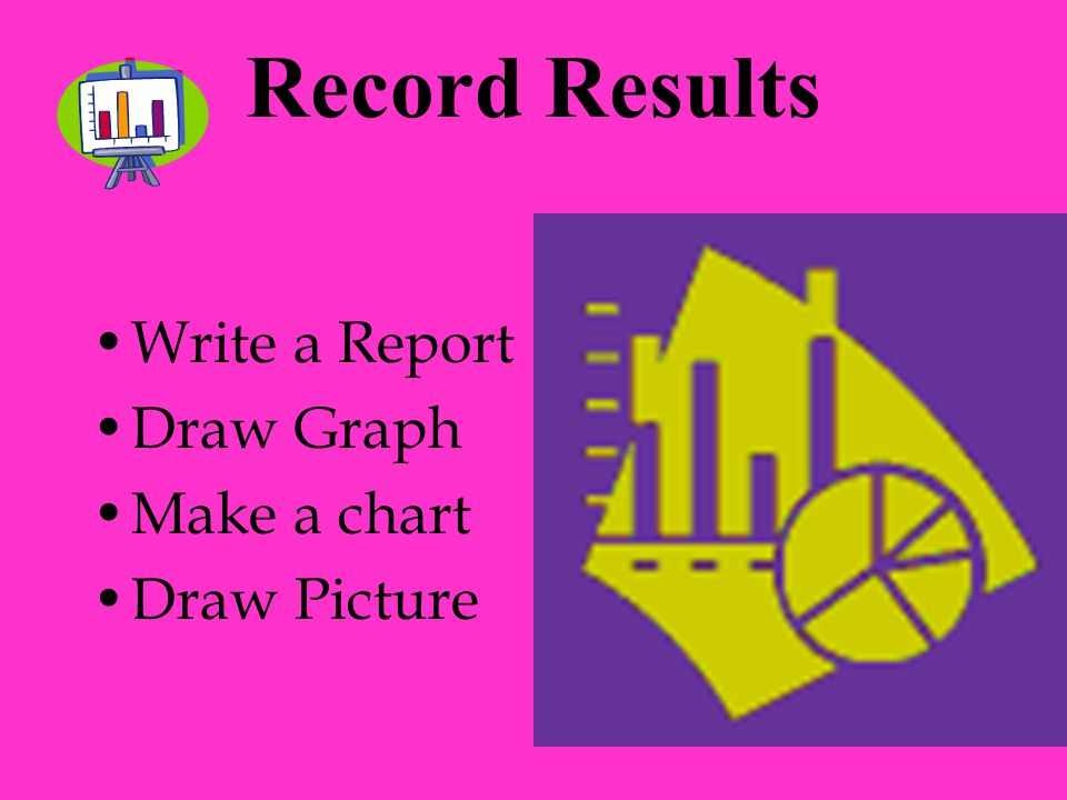 Record Results Write a Report Draw Graph Make a chart Draw Picture