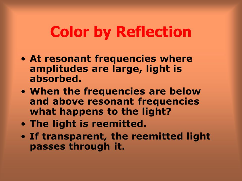 Color by Reflection At resonant frequencies where amplitudes are large, light is absorbed.