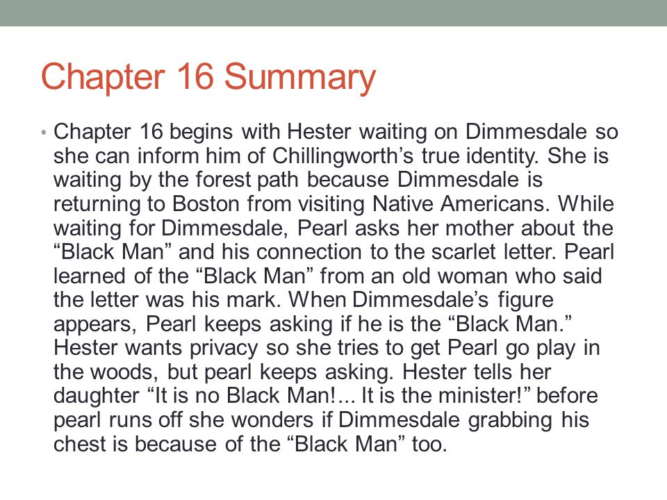 summary of the scarlet letter the scarlet letter chapters ppt 24997 | Chapter 16 Summary