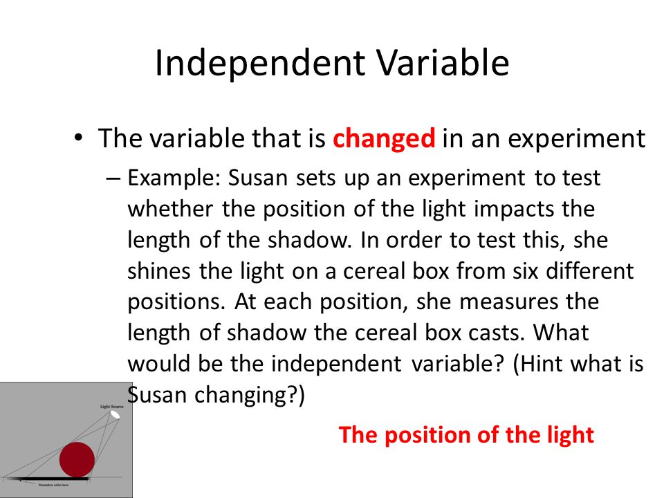 Independent Variable The variable that is changed in an experiment