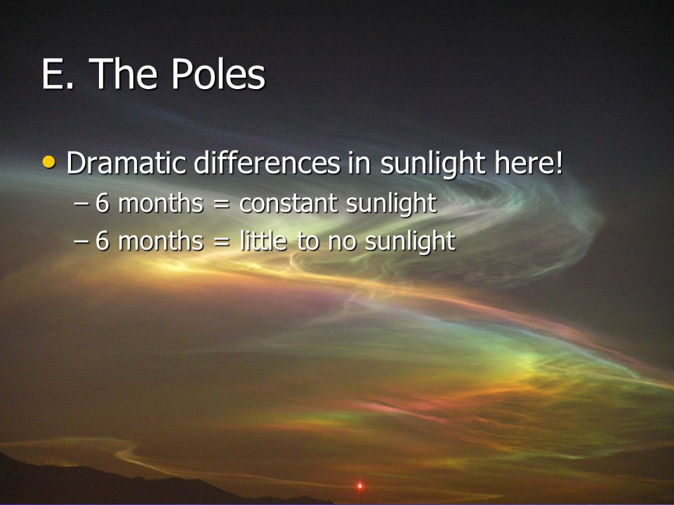 E. The Poles Dramatic differences in sunlight here!