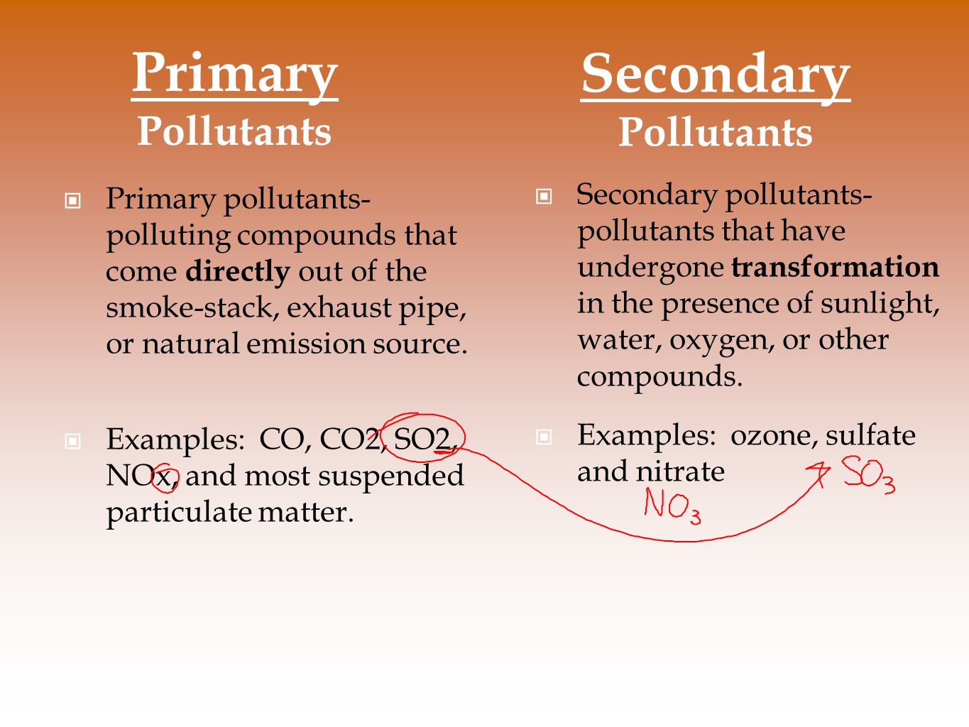 Primary Pollutants Secondary Pollutants