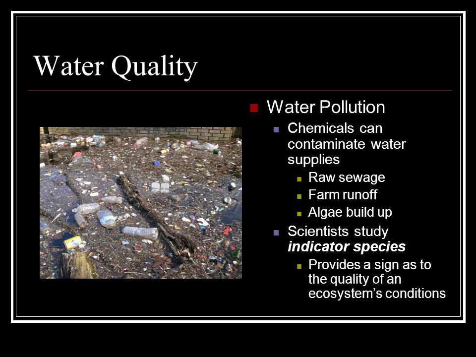 Water Quality Water Pollution Chemicals can contaminate water supplies