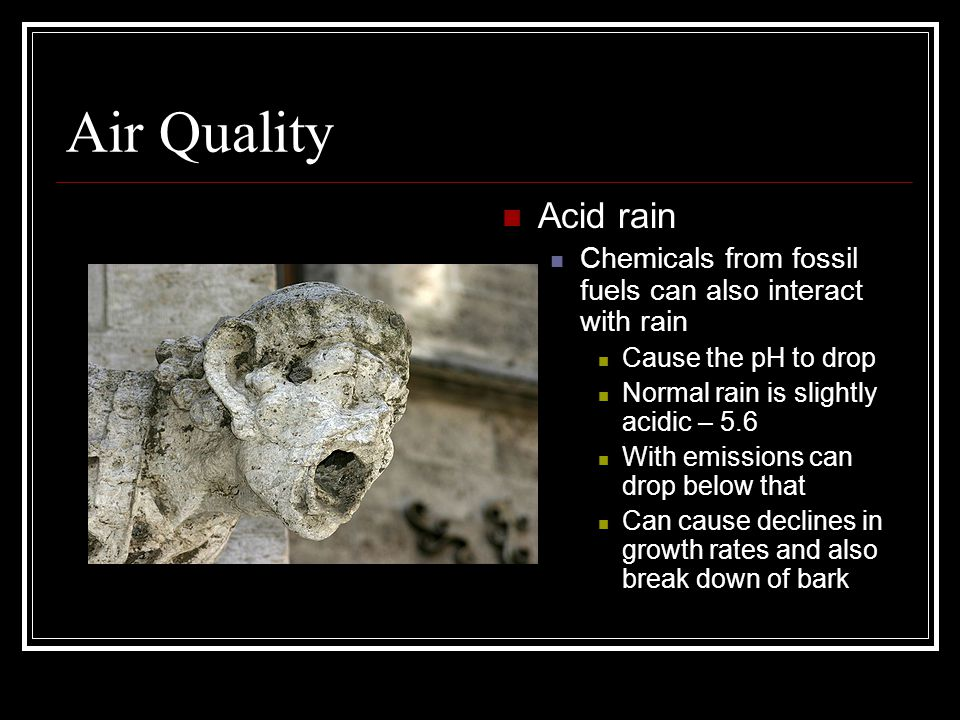Air Quality Acid rain. Chemicals from fossil fuels can also interact with rain. Cause the pH to drop.