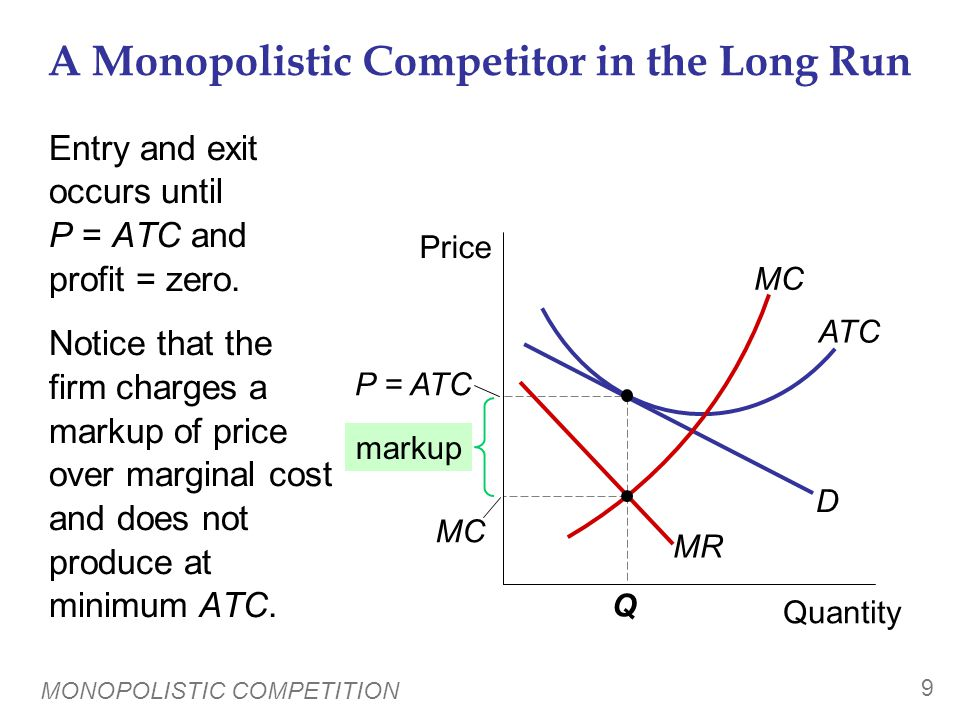 Why Monopolistic Competition Is Less Efficient than Perfect Competition 1. Excess capacity.