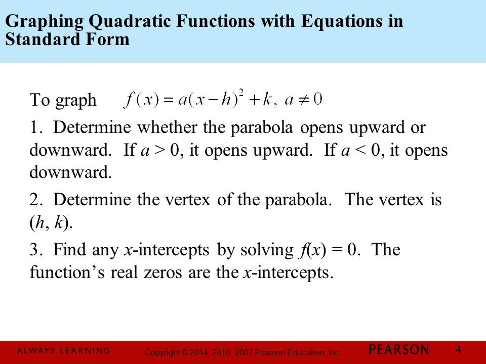 Graphing Quadratic Functions with Equations in Standard Form