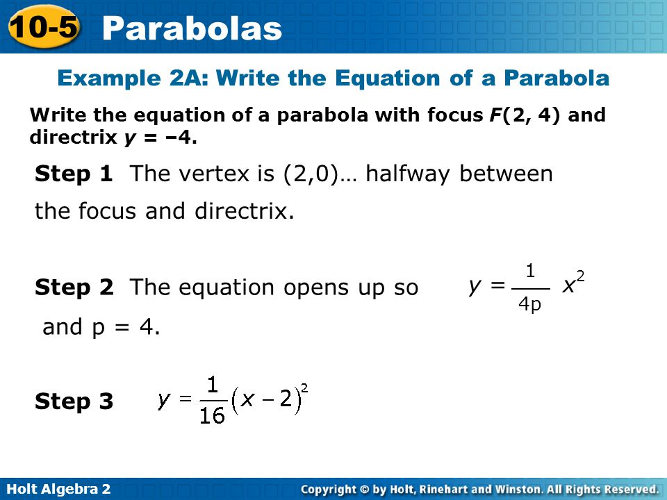 Example 2A: Write the Equation of a Parabola
