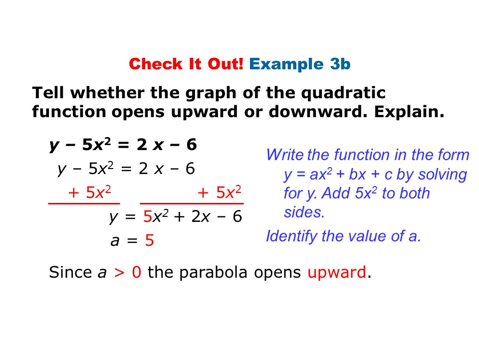 Check It Out! Example 3b Tell whether the graph of the quadratic function opens upward or downward. Explain.