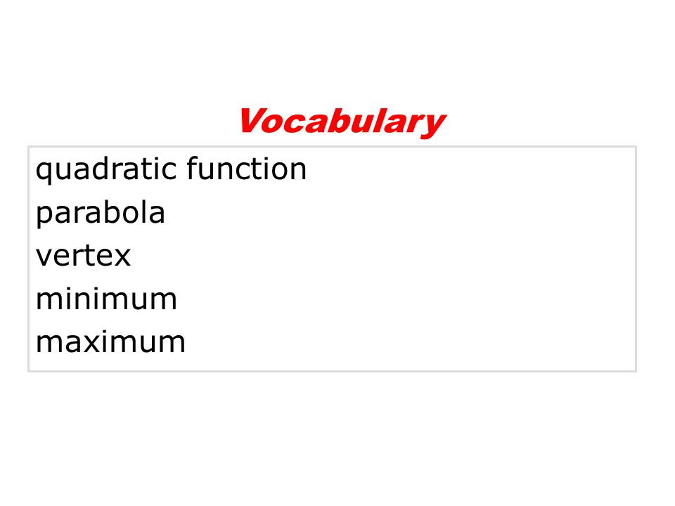Vocabulary quadratic function parabola vertex minimum maximum