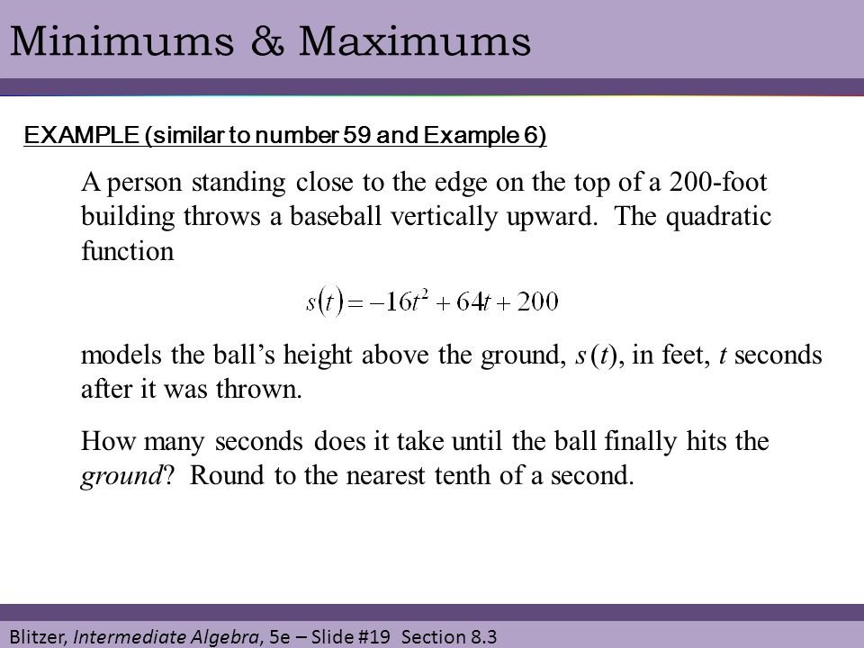 Minimums & Maximums EXAMPLE (similar to number 59 and Example 6)