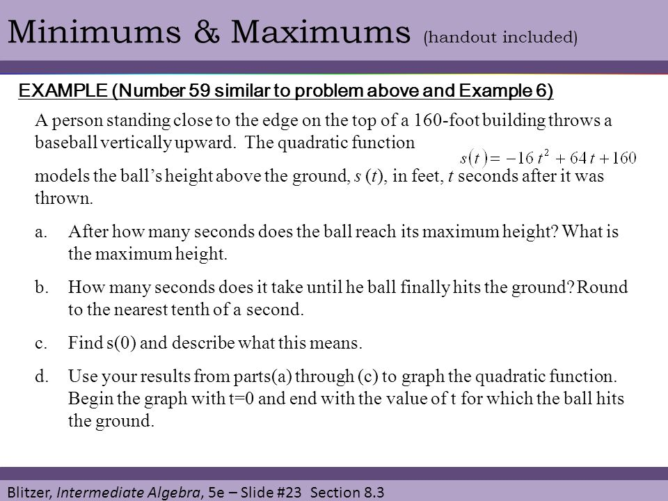 Minimums & Maximums (handout included)