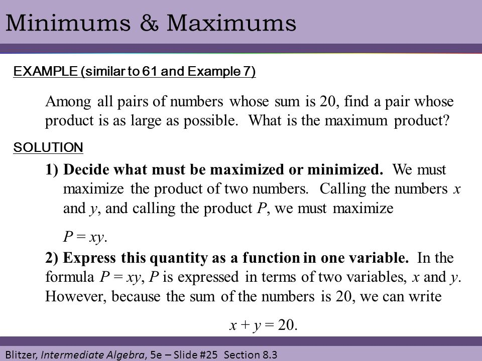 Minimums & Maximums EXAMPLE (similar to 61 and Example 7)