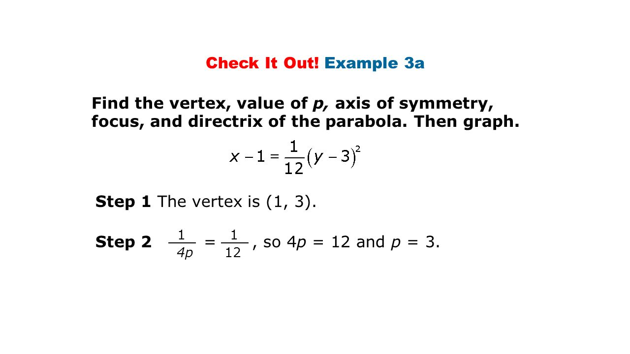 Check It Out! Example 3a Find the vertex, value of p, axis of symmetry, focus, and directrix of the parabola. Then graph.