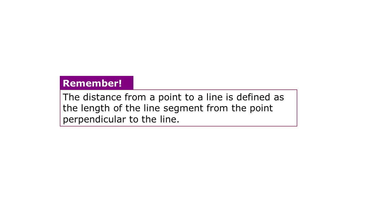 The distance from a point to a line is defined as the length of the line segment from the point perpendicular to the line.