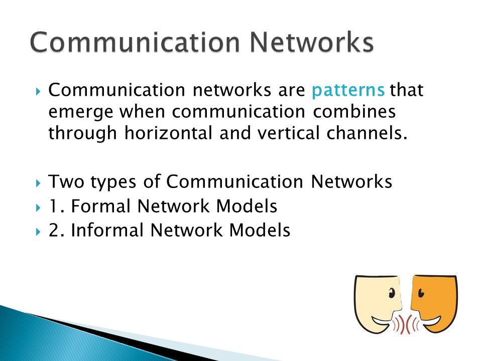 communication networks and channels Networks and communications lecturer - eric goodyer email eg@dmuacuk how to allow users to gain access to the communications channel how to route data to the correct user across a network how to ensure the receiver interprets the data correctly - the receiving machine may differ.