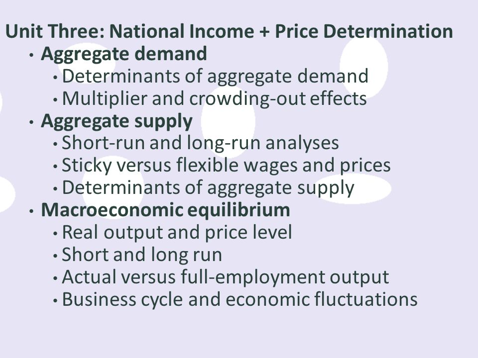 Unit Three: National Income + Price Determination