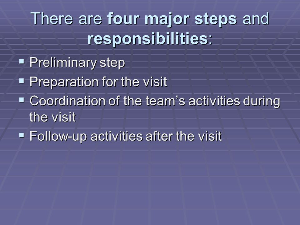 There are four major steps and responsibilities: