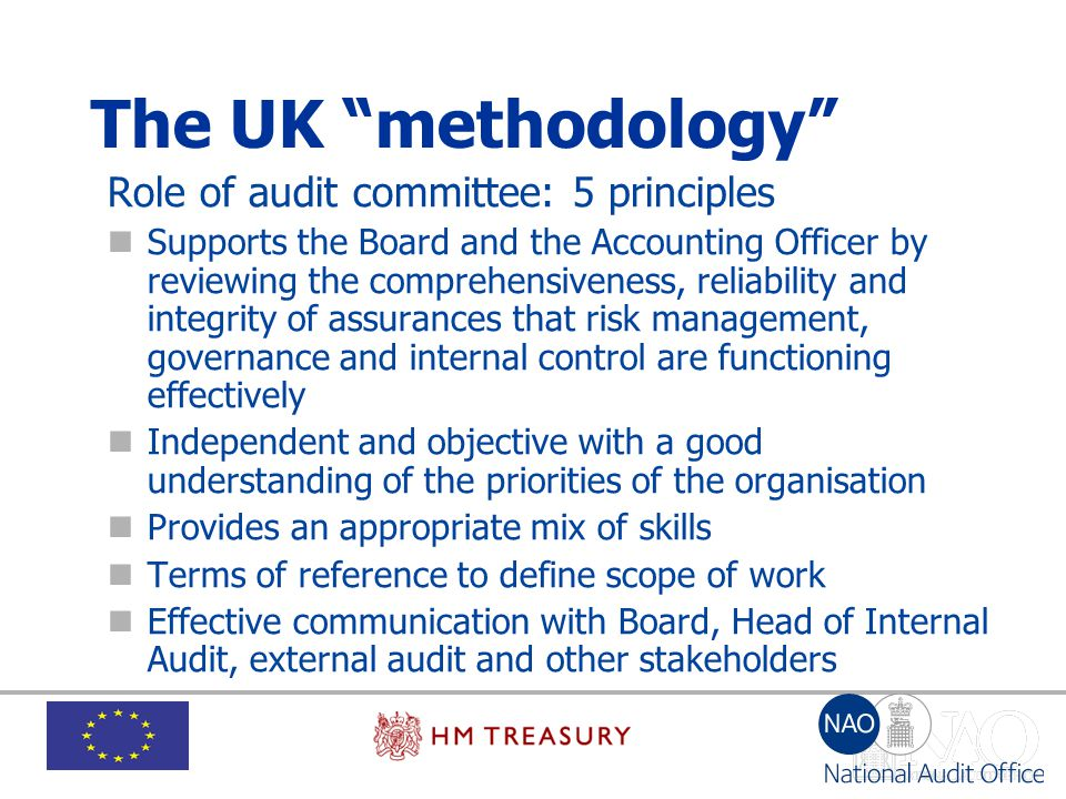 The UK methodology Role of audit committee: 5 principles