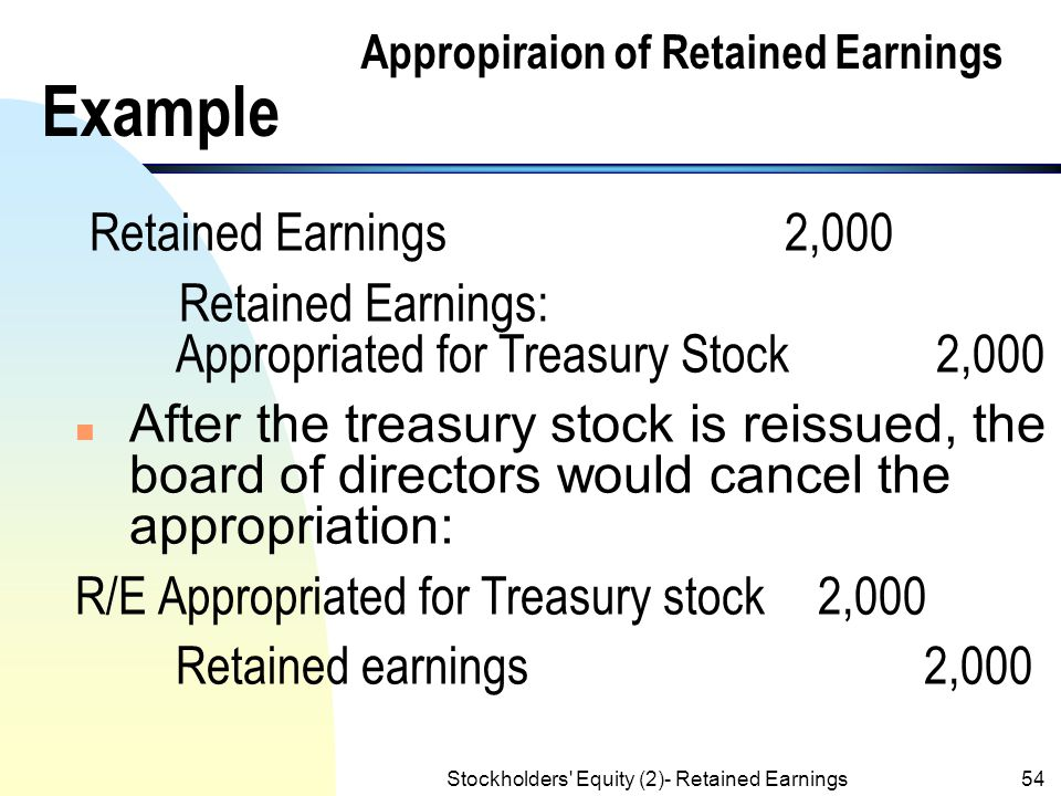 appropriated retained earnings